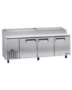 "Pizza Prep Table, 92"", 3x Doors, Refrigerated, S/S"
