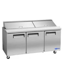 "Salad Prep Table, 72"", 3x Door, Refrigerated, S/S"