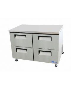 "Refrigerator, 48"", Undercounter, 4-Drawer, S/S"